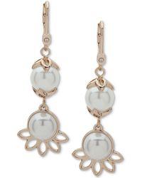 Ivanka Trump - Gold-tone Imitation Pearl Double Drop Earrings - Lyst