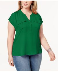 50a26c0ede8 INC International Concepts - I.n.c. Plus Size Mixed-media Utility Shirt