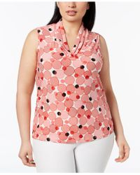 Anne Klein - Plus Size Printed Gathered V-neck Top - Lyst