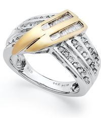 Macy's - Sterling Silver And Diamond Twist Ring In 14k Gold (1/2 Ct. T.w.) - Lyst