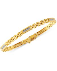 Macy's | Men's Diamond Link Bracelet (1/4 Ct. T.w.) In 10k Gold | Lyst