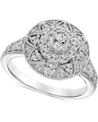 Macy's - Diamond Filigree Halo Engagement Ring (1 Ct. T.w.) In 14k White Gold - Lyst