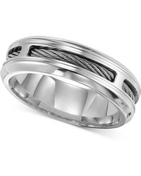 Triton - Men's Stainless Steel Ring, Comfort Fit Cable Wedding Band - Lyst