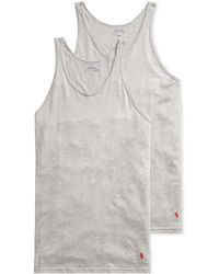 974810b305ba6b Lyst - Polo Ralph Lauren Classic Ribbed Cotton Tank - Pack Of 3 in ...