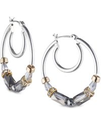 Nine West - Tri-tone Beaded Hoop Earrings - Lyst