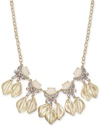 """INC International Concepts - Gold-tone Stone & Crystal Petal Statement Necklace, 17"""" + 3"""" Extender, Created For Macy's - Lyst"""