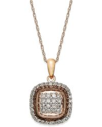 Macy's - Diamond Square Pendant Necklace In 10k Rose Gold (3/8 Ct. T.w.) - Lyst