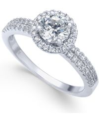 Macy's - Diamond Halo Ring (1 Ct. T.w.) In 14k White Gold - Lyst