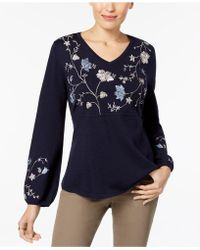 Style & Co. - Embroidered Jumper - Lyst