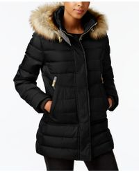 Vince Camuto   Faux-fur-trimmed Hooded Quilted Puffer Coat   Lyst
