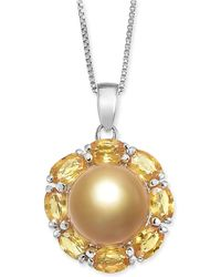 "Macy's - Cultured Golden South Sea Pearl (10mm) & Yellow Sapphire (3-1/5 Ct. T.w.) 18"" Pendant Necklace In Sterling Silver - Lyst"