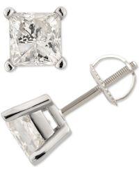 Macy's - Diamond Princess Stud Earrings (1-1/2 Ct. T.w.) In 14k White Gold - Lyst