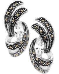 Macy's - Cubic Zirconia & Marcasite Swirl Stud Earrings In Fine Silver-plate - Lyst