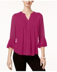 Charter Club - Pleated Sheer Blouse, Created For Macy's - Lyst