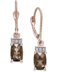 Macy's - Smoky Quartz (1-9/10 Ct. T.w.) & Diamond Accent Drop Earrings In 14k Rose Gold - Lyst