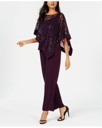 R & M Richards - Sequined Capelet Two Piece Pant Set - Lyst