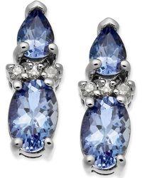 Macy's - Tanzanite (1-3/8 Ct. T.w.) & Diamond Accent Stud Earrings In 14k White Gold - Lyst