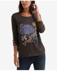 Lucky Brand - Embroidered-graphic Cotton Top - Lyst