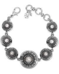 Lucky Brand - Silver Has Tone Imitation Pearl Star Disc Link Bracelet - Lyst