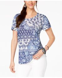 Style & Co. - Printed Scoop-neck Top, Created For Macy's - Lyst
