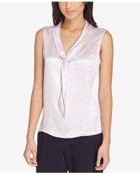Tahari - Sleeveless Tie-neck Blouse, Regular & Petite - Lyst