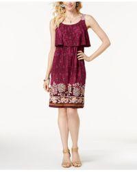 0e772bda40b Style   Co. - Border-print Flutter-overlay Dress