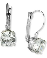 Nine West - Earrings, Silver-tone Round-cut Crystal Drop Earrings - Lyst