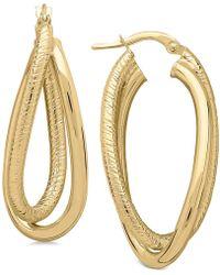 Macy's - Textured Crossover Hoop Earrings In 14k Gold - Lyst