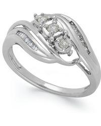 Macy's - Diamond Three-stone Ring In 10k White Gold (1/5 Ct. T.w.) - Lyst