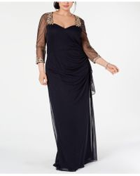 daf6f13d Xscape Plus Size Embellished Illusion Gown in Blue - Lyst