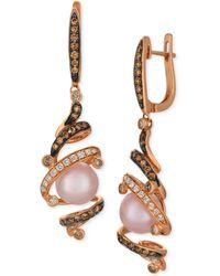 Le Vian - Strawberry Pearls® (8-1/2mm) & Diamond (5/8 Ct. T.w.) Drop Earrings In 14k Rose Gold - Lyst