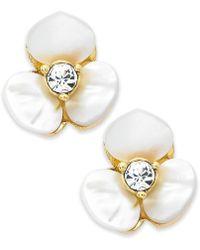 Kate Spade - Earrings, Gold-tone Cream Disco Pansy Flower Stud Earrings - Lyst
