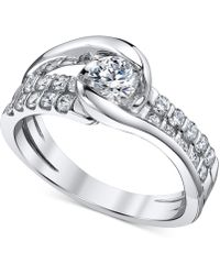 Sirena - Diamond Two-row Engagement Ring (7/8 Ct. T.w.) In 14k White Gold - Lyst