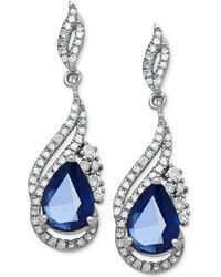 Macy's - Sapphire (1-3/4 Ct. T.w.) And Diamond (1/3 Ct. T.w.) Drop Earrings In 14k White Gold - Lyst