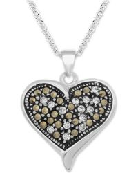 """Macy's - Marcasite & Crystal Heart 18"""" Pendant Necklace In Fine Silver-plate - Lyst"""