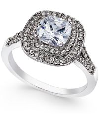 Charter Club - Silver-tone Double Halo Crystal Center Ring - Lyst