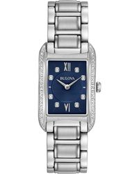 Bulova - Women's Diamond Accent Stainless Steel Bracelet Watch 22x35mm 96r211 - Lyst