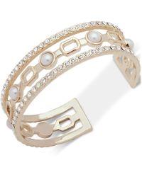 Ivanka Trump - Gold-tone Crystal & Imitation Pearl Cuff Bracelet - Lyst