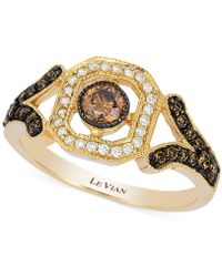 Le Vian | Chocolate And White Diamond Deco Ring (3/8 Ct. T.w.) In 14k Gold | Lyst