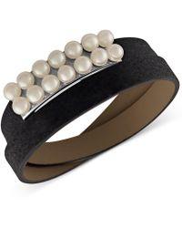 Majorica - Silver-tone Imitation Pearl Leather Wrap Bracelet - Lyst
