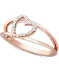 Wrapped in Love - Tm Diamond Heart Ring (1/10 Ct. T.w.) In 14k Rose Gold, Created For Macy's - Lyst