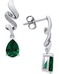 Macy's - Emerald (2 Ct. T.w.) & Diamond Accent Drop Earrings In Sterling Silver - Lyst