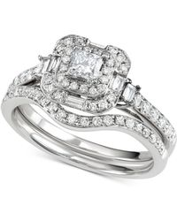 Macy's - Diamond Princess Halo Bridal Set (2-1/2 Ct. T.w.) In 14k White Gold - Lyst