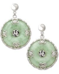Macy's - Sterling Silver Earrings, Jade Circle Flower Overlay Earrings - Lyst