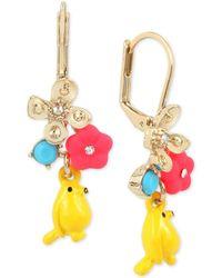 Betsey Johnson - Gold-tone Flower & Bird Drop Earrings - Lyst