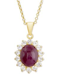 """Macy's - Ruby (3 Ct. T.w.) & White Topaz (5/8 Ct. T.w.) 18"""" Pendant Necklace In 14k Gold-plated Sterling Silver - Lyst"""