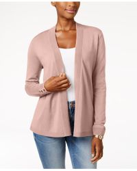 Charter Club - Petite Button-detail Open-front Cardigan - Lyst