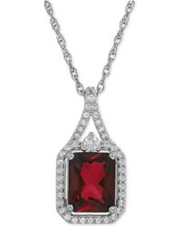 Macy's - Lab-created Ruby (3-1/10 Ct. T.w.) And White Sapphire (1/4 Ct. T.w.) Pendant Necklace In Sterling Silver - Lyst