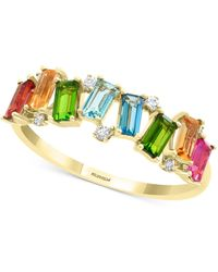 Effy Collection Effy® Multi-gemstone (7/8 Ct. T.w.) & Diamond (1/20 Ct. T.w.) Statement Ring In 14k Gold - Metallic