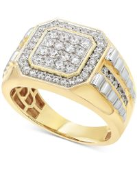Macy's - Diamond Two-tone Ring (1 Ct. T.w.) In 10k Gold & White Gold - Lyst